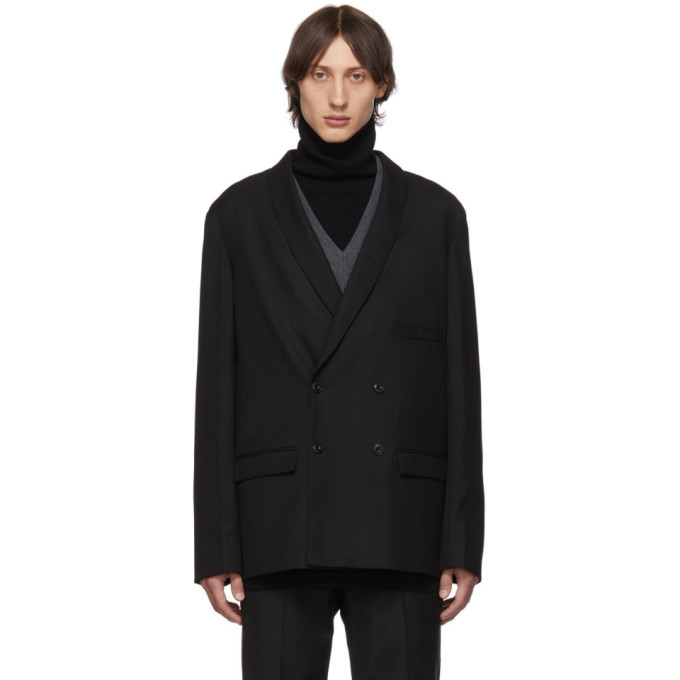 Photo: Lemaire Black Wool Double-Breasted Blazer