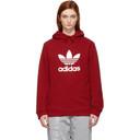 adidas Originals Red Trefoil Logo Warm-Up Hoodie