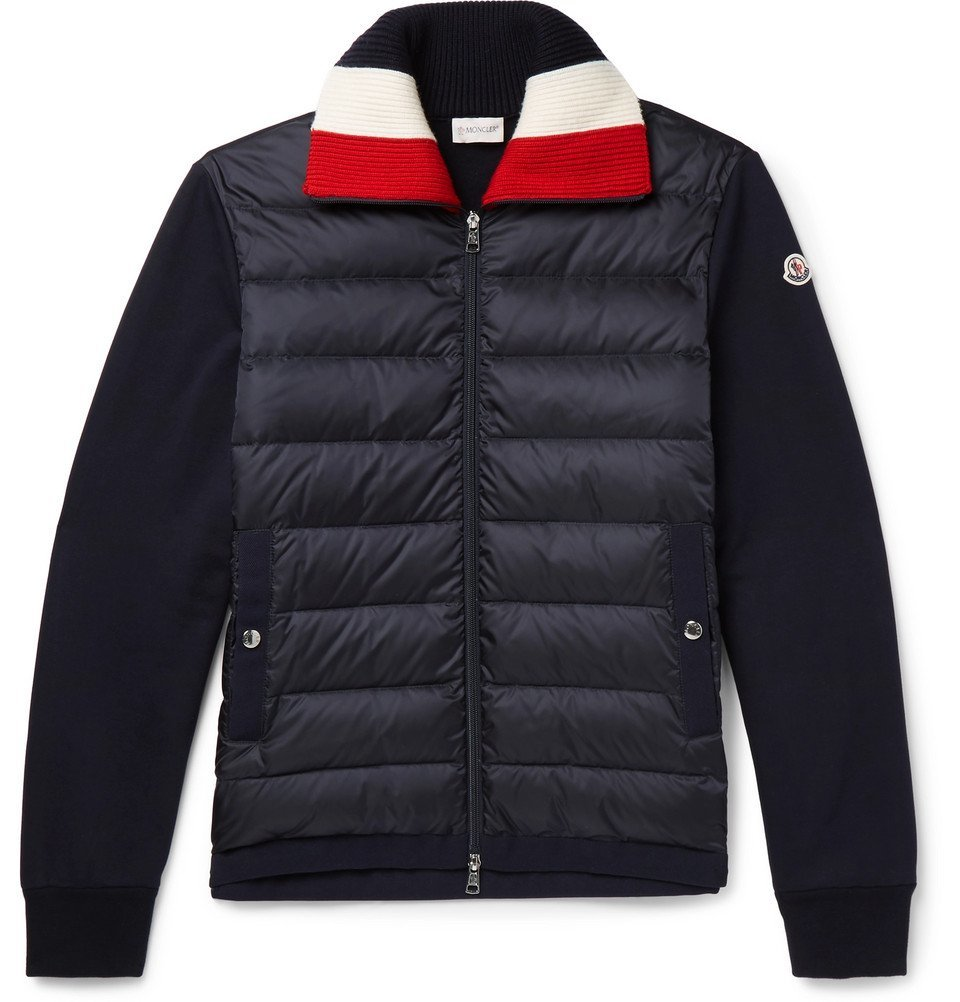 Photo: Moncler - Panelled Fleece-Back Cotton-Jersey and Quilted Shell Down Jacket - Men - Navy