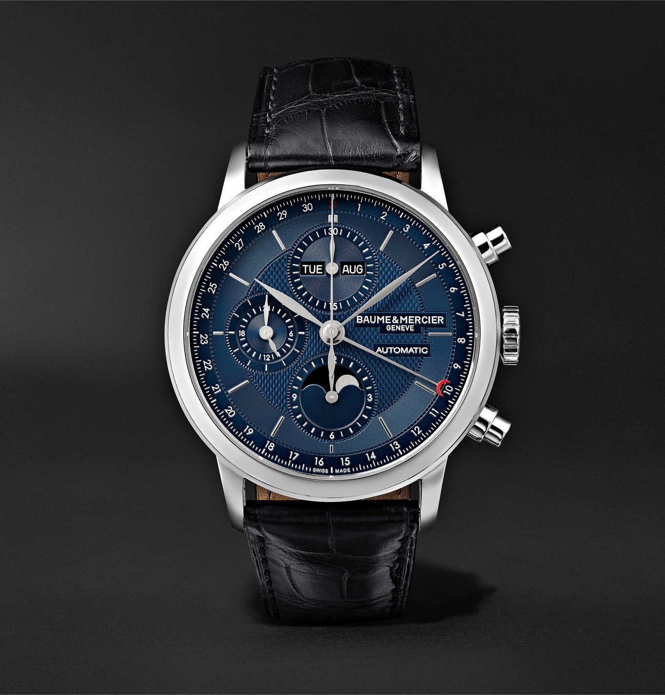 Photo: Baume & Mercier - Classima Automatic Moon-Phase Calendar Chronograph 42mm Stainless Steel and Alligator Watch, Ref. No. M0A10484 - Blue