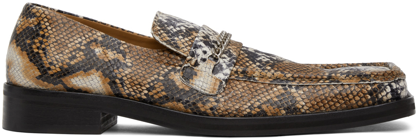 Photo: Martine Rose Beige Snake Square Toe Loafers