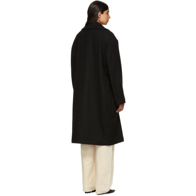Lemaire Black Yak Wool Kaftan Coat