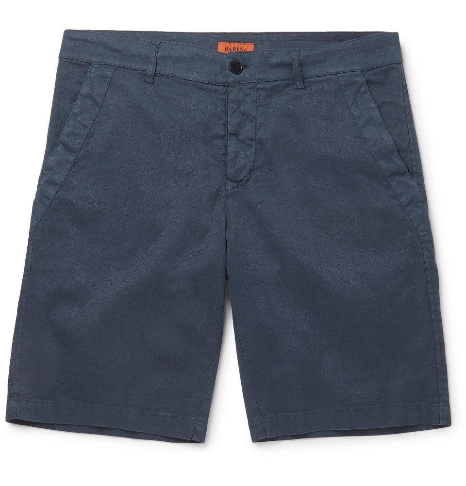 Photo: Barena - Slim-Fit Linen-Blend Shorts - Navy