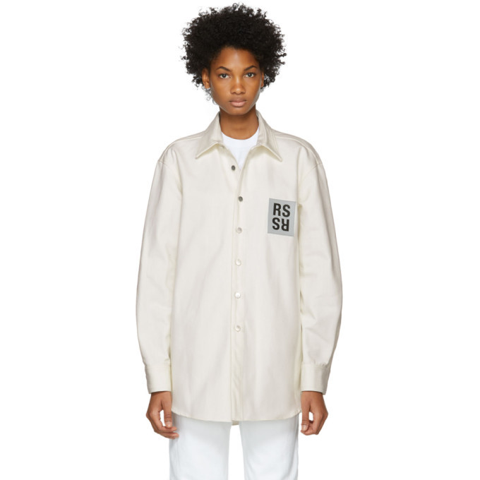 Photo: Raf Simons White Denim Logo Patch Shirt