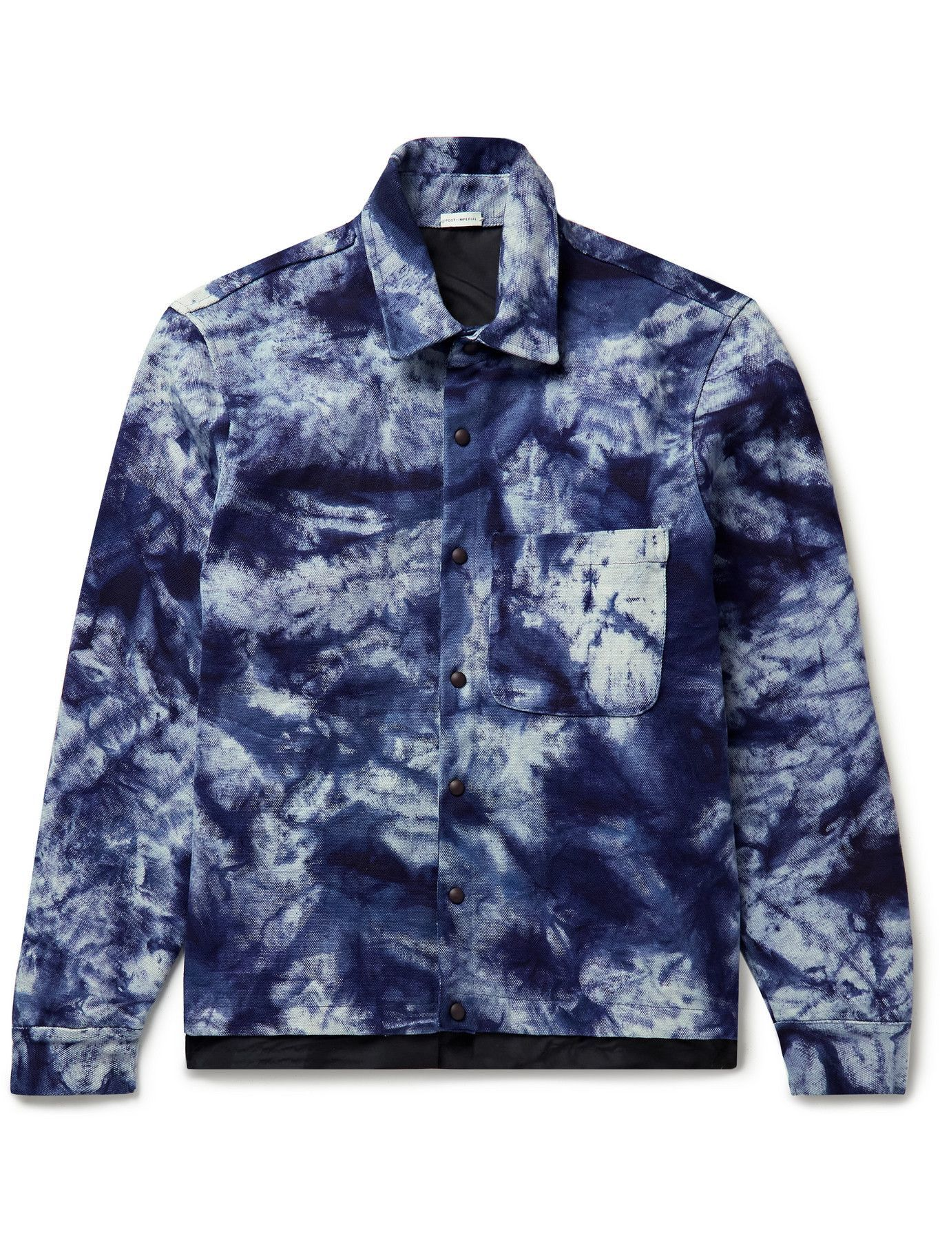 Photo: Post-Imperial - Ikeja Satin-Trimmed Tie-Dyed Cotton-Canvas Jacket - Blue