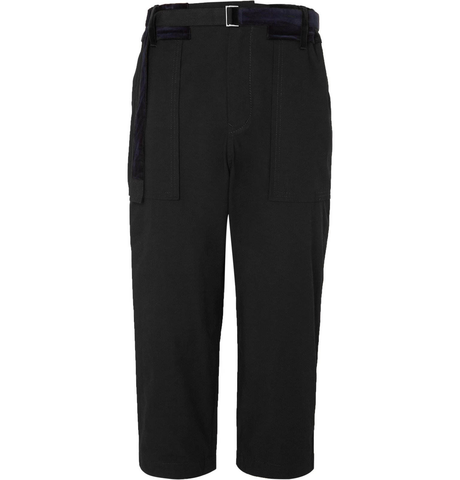 Sacai - Black Cropped Tapered Velvet-Trimmed Cotton-Blend Trousers - Black