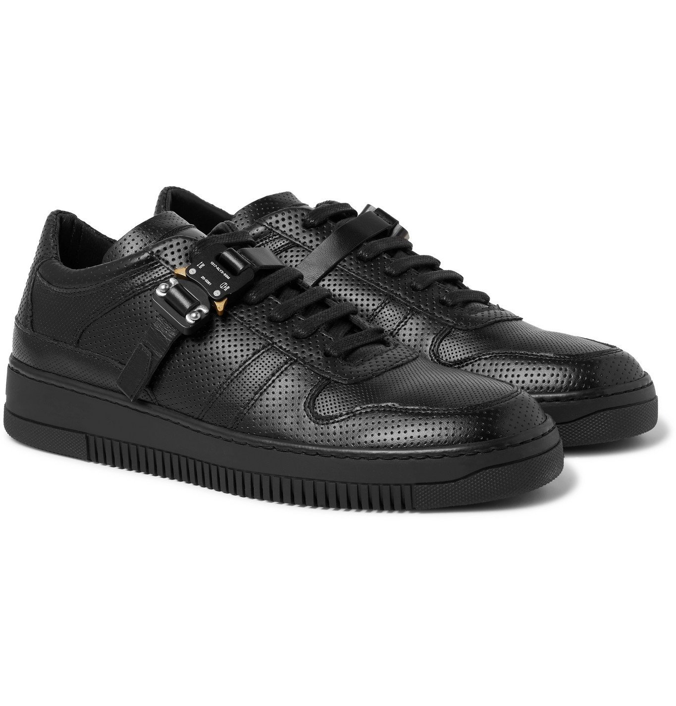 Photo: 1017 ALYX 9SM - Buckled Perforated-Leather Sneakers - Black