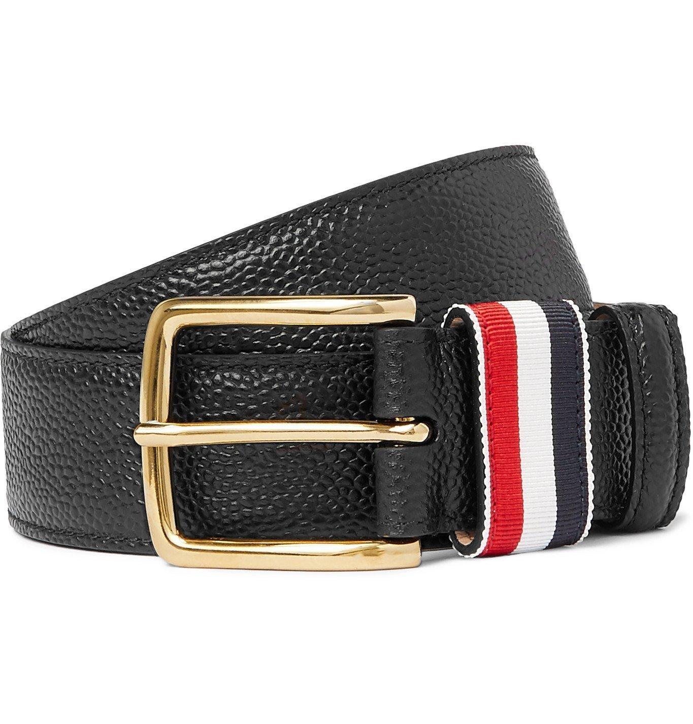 Photo: Thom Browne - 3.5cm Striped Grosgrain-Trimmed Pebble-Grain Leather Belt - Black