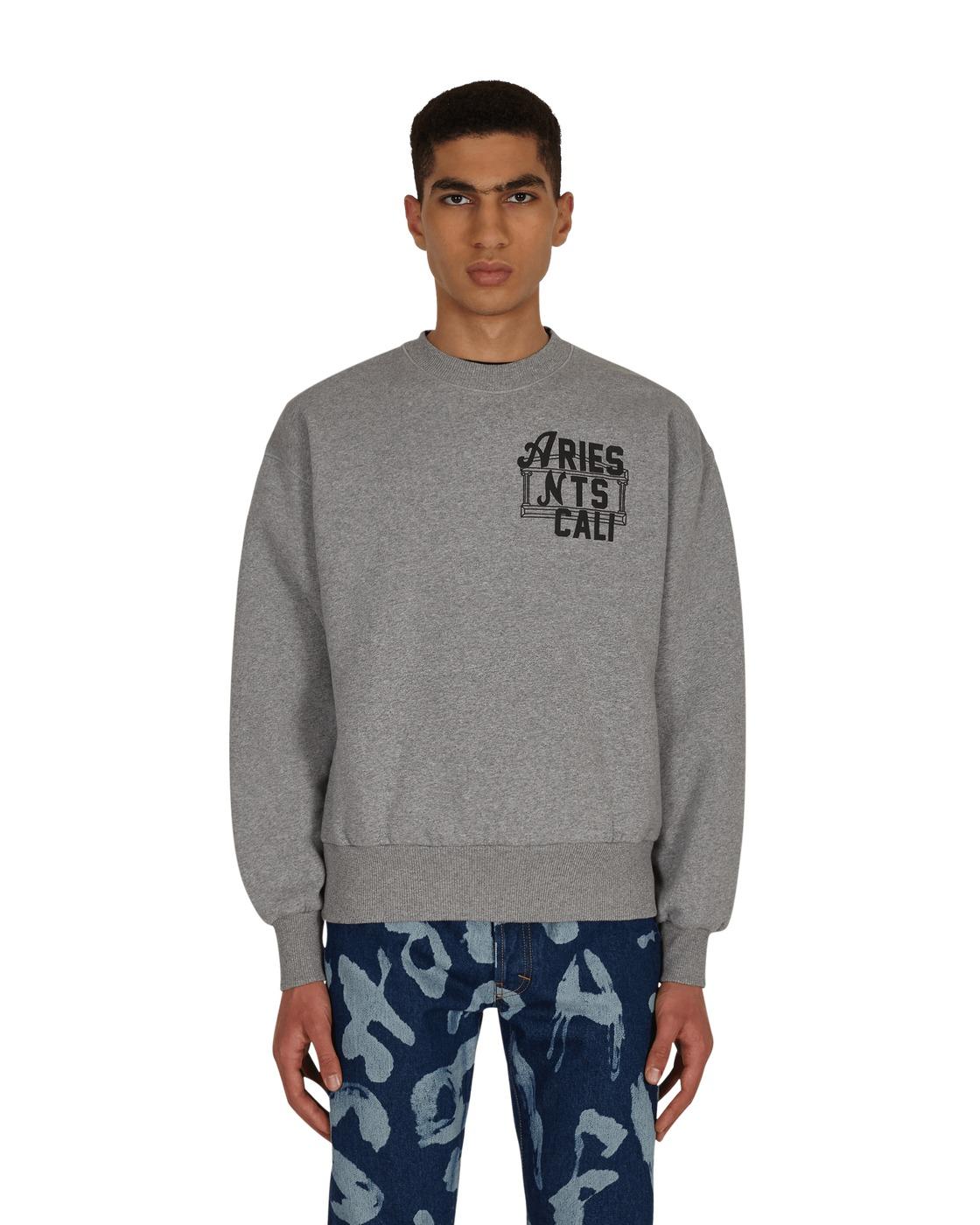 Photo: Aries Collab Nts Hell On Earth Crewneck Sweatshirt Grey Marl