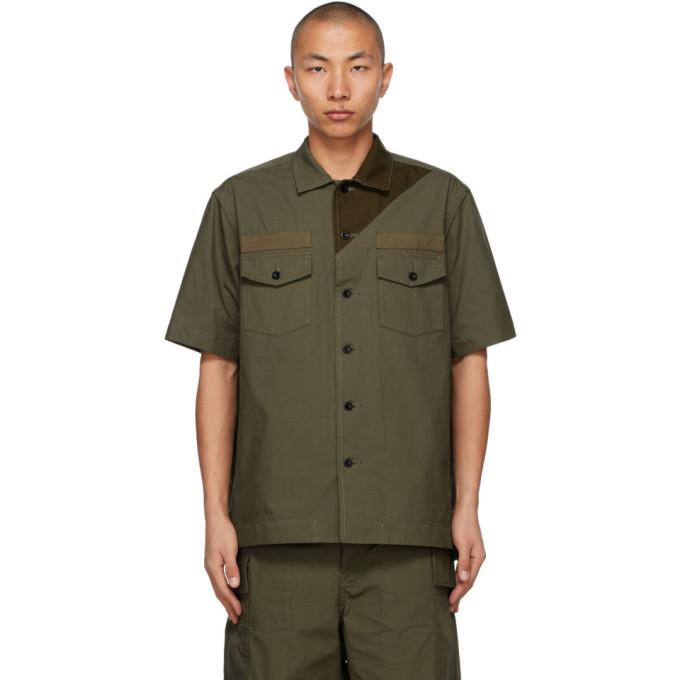 Sacai Khaki Cotton and Nylon Oxford Shirt