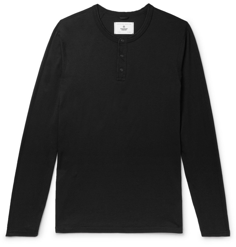 Photo: Reigning Champ - Cotton-Jersey Henley T-Shirt - Black