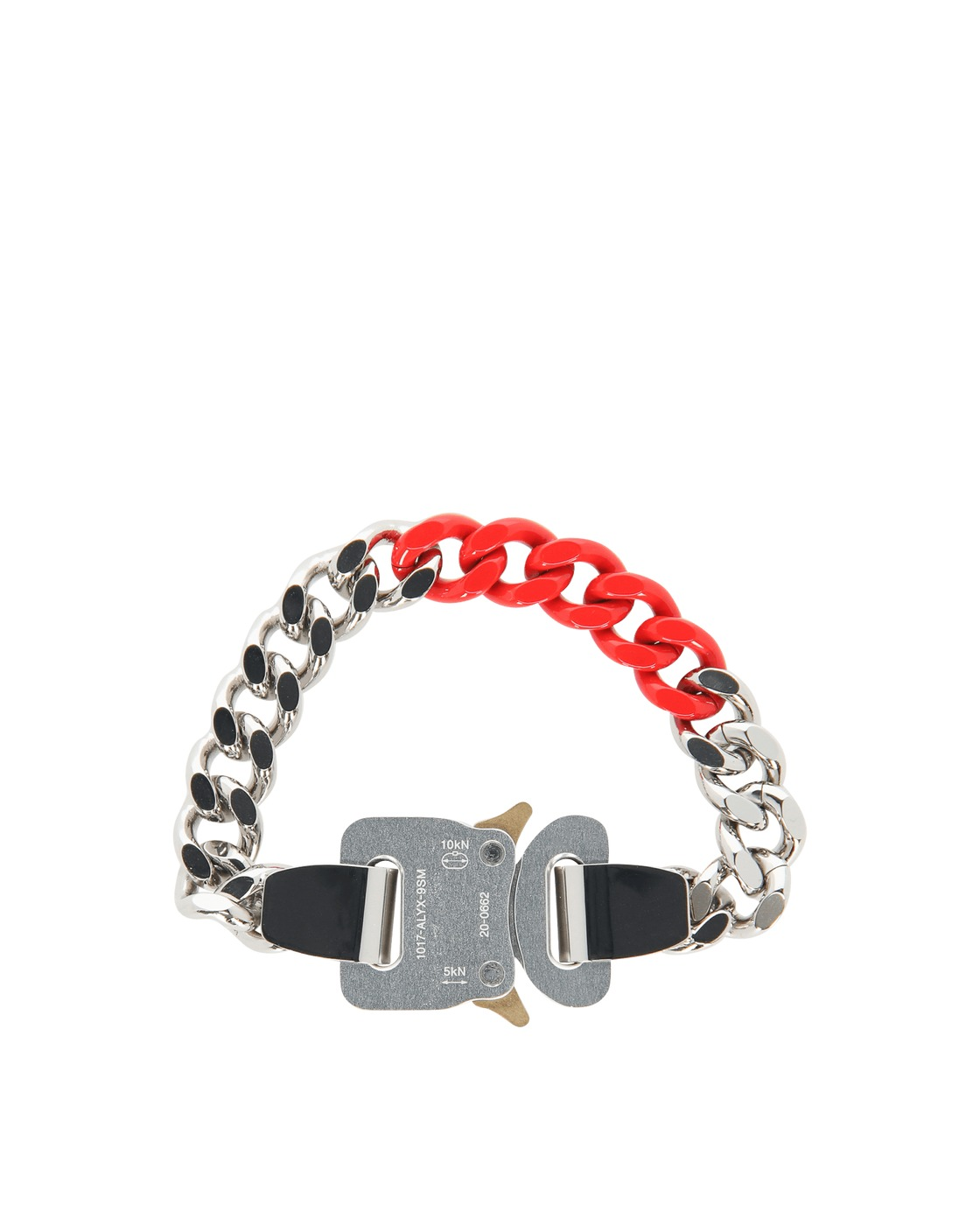 Photo: 1017 Alyx 9sm Colored Links Buckle Bracelet Silver/Red