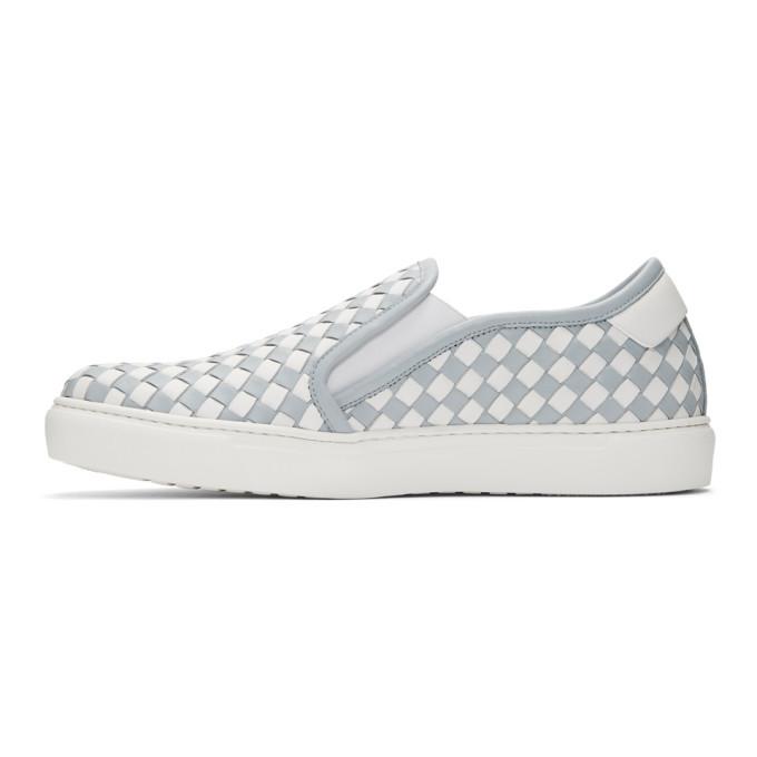 Bottega Veneta Blue and White Intrecciato Slip-On Sneakers
