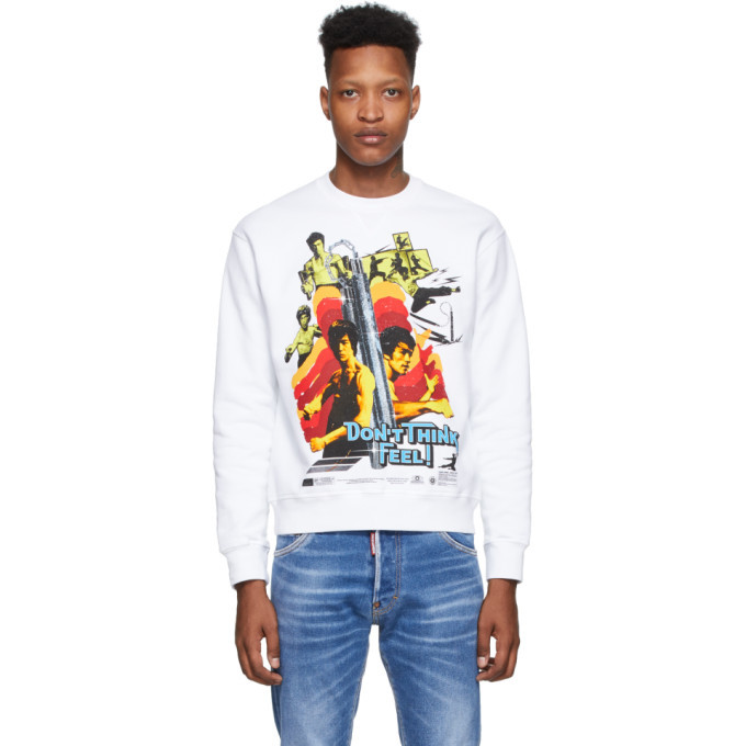 Photo: Dsquared2 White Bruce Lee Printed Cool Fit Sweatshirt