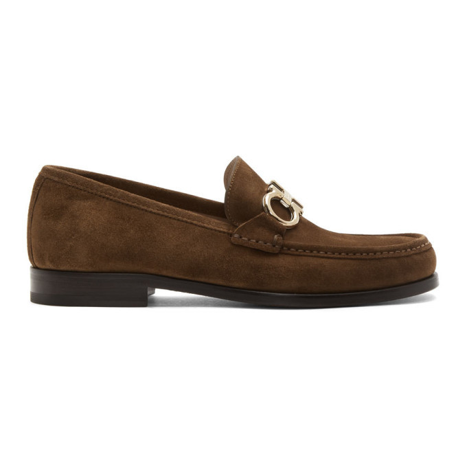 Photo: Salvatore Ferragamo Brown Suede Rolo Loafers