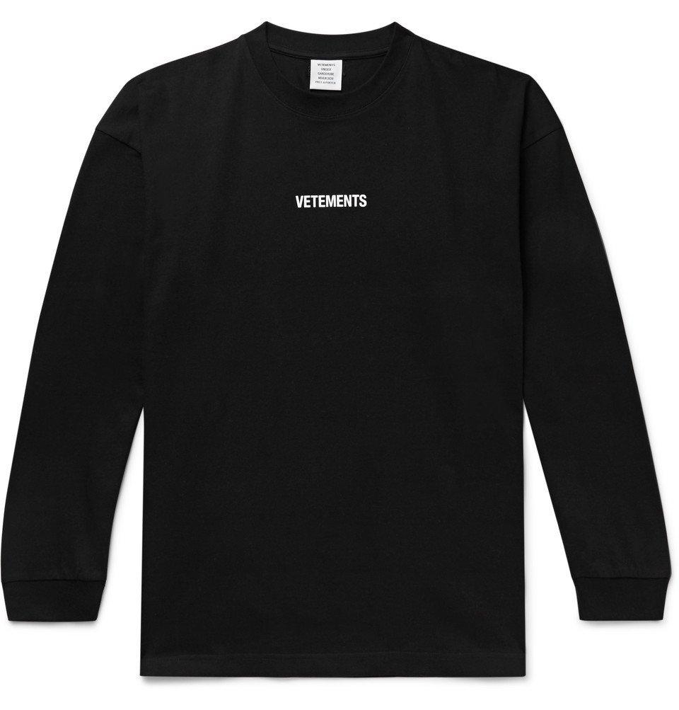Photo: Vetements - Oversized Logo-Print Cotton-Jersey T-Shirt - Black