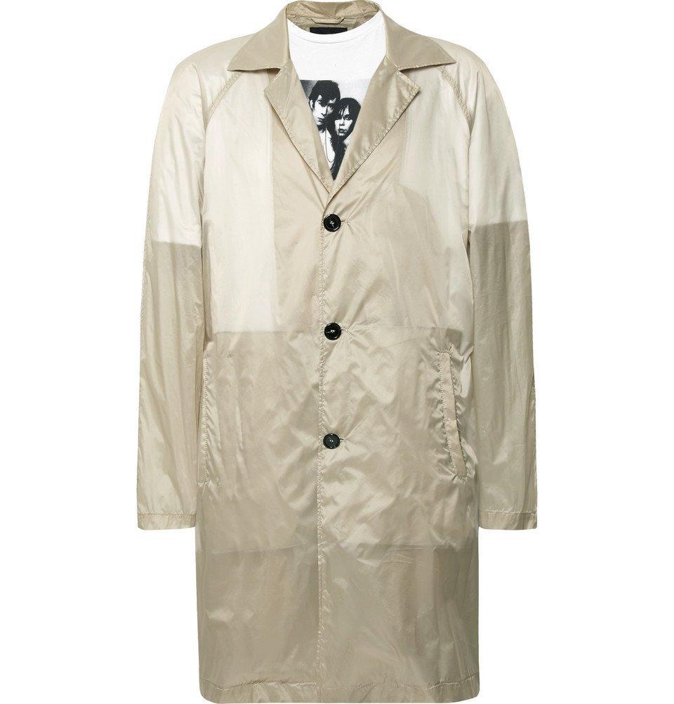 Photo: Raf Simons - Layered Printed Cotton-Jersey and Shell Raincoat - Sand