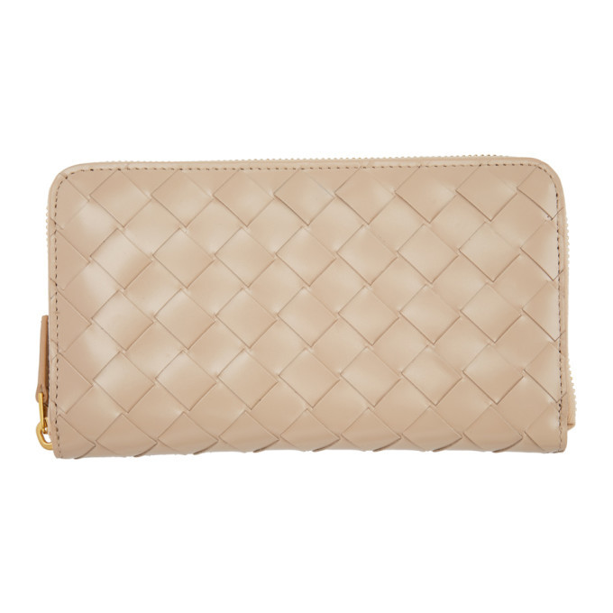 Photo: Bottega Veneta Pink Maxi Intrecciato Zip Wallet