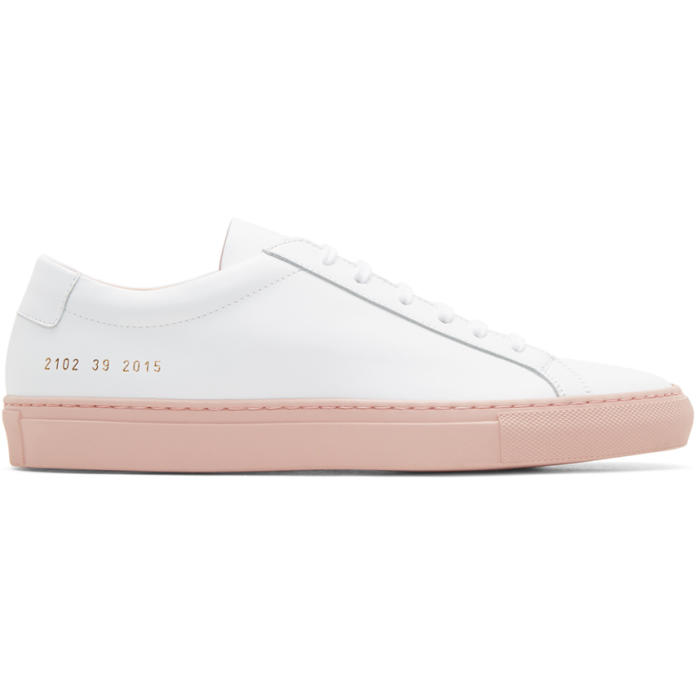 Common Projects White and Pink Achilles Low Colored Sole Sneakers