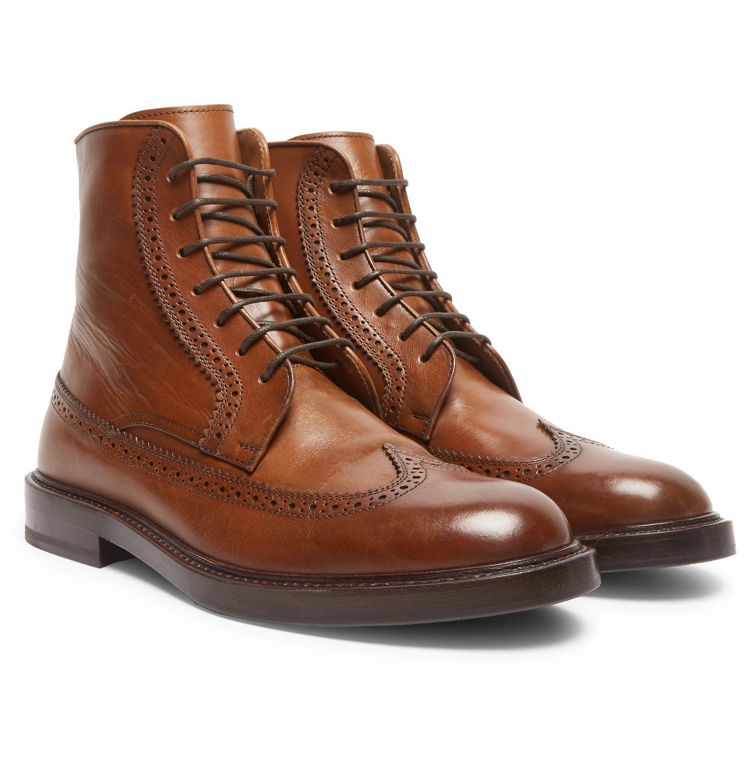 Photo: Brunello Cucinelli - Leather Brogue Boots - Brown