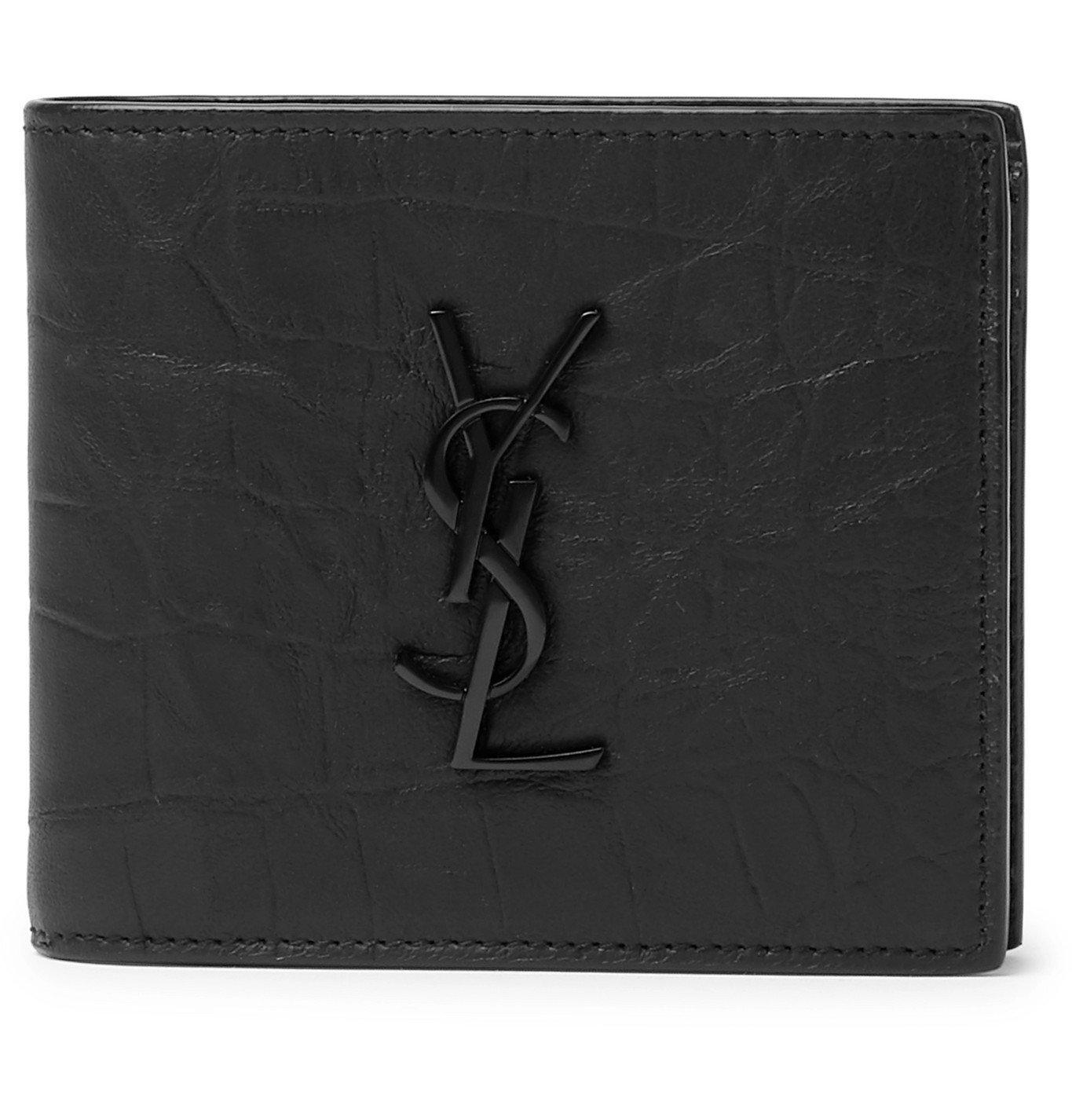 Photo: SAINT LAURENT - Logo-Appliquéd Croc-Effect Leather Billfold Wallet - Black
