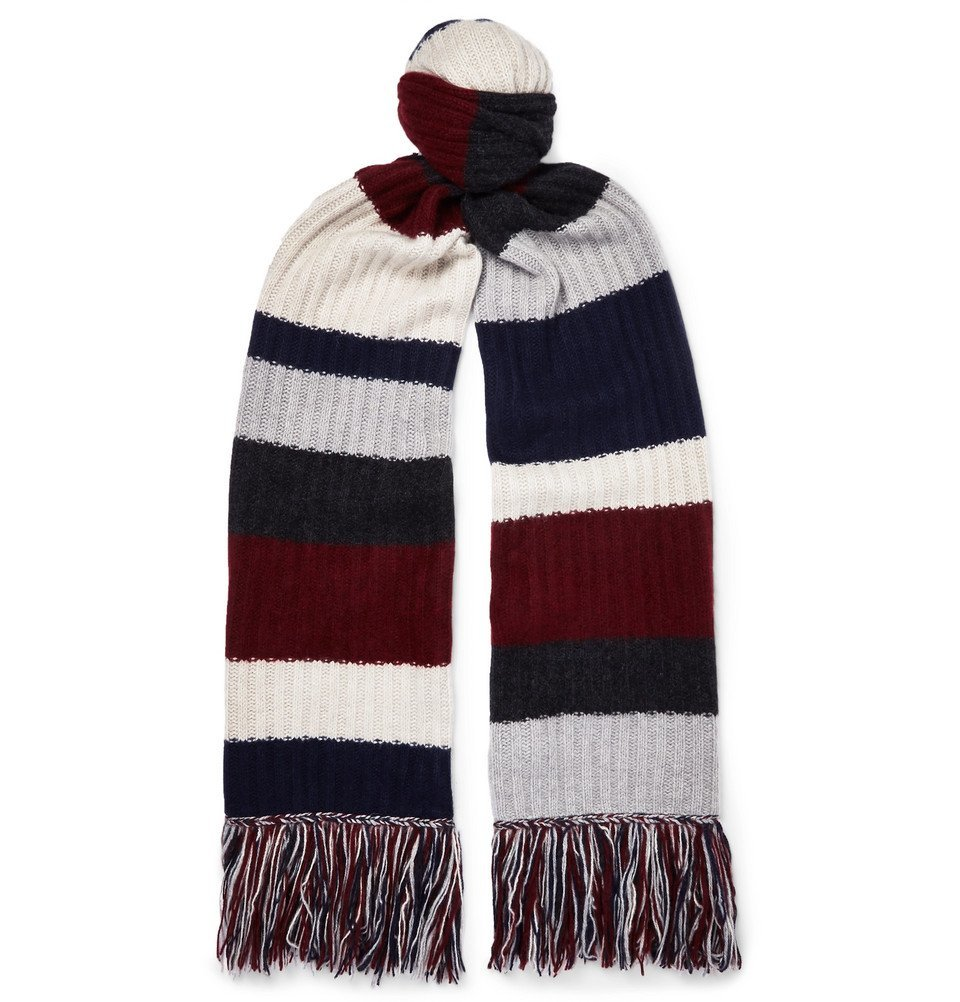 Photo: The Elder Statesman - Fringed Striped Ribbed Cashmere Scarf - Multi