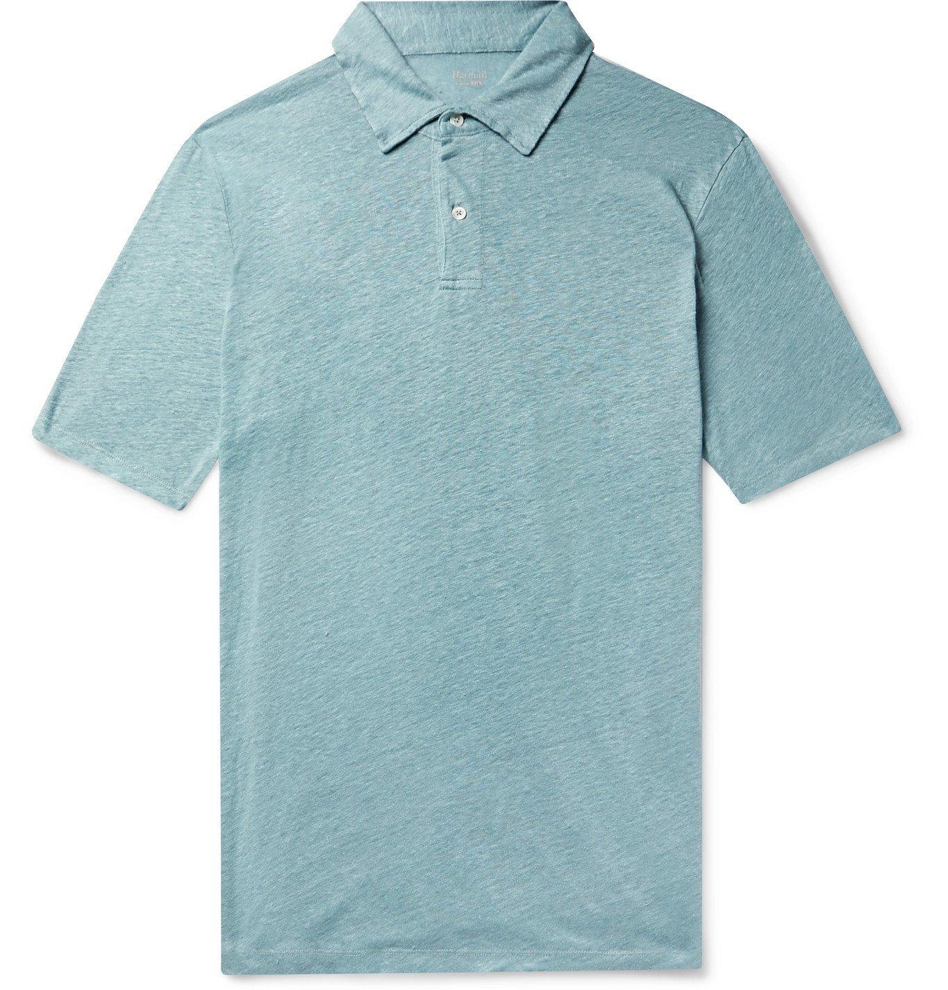 Photo: Hartford - Slub Linen Polo Shirt - Blue