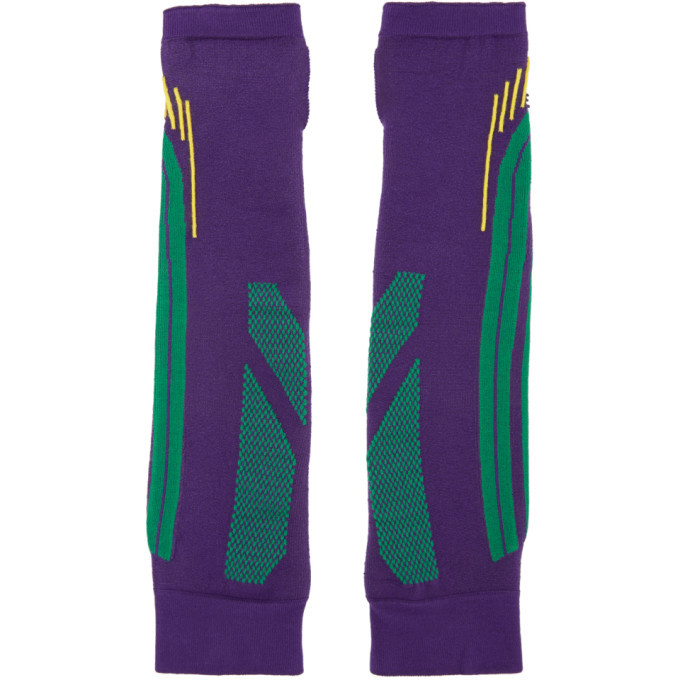 Photo: Paolina Russo SSENSE Exclusive Purple and Green Knit Battle Gloves