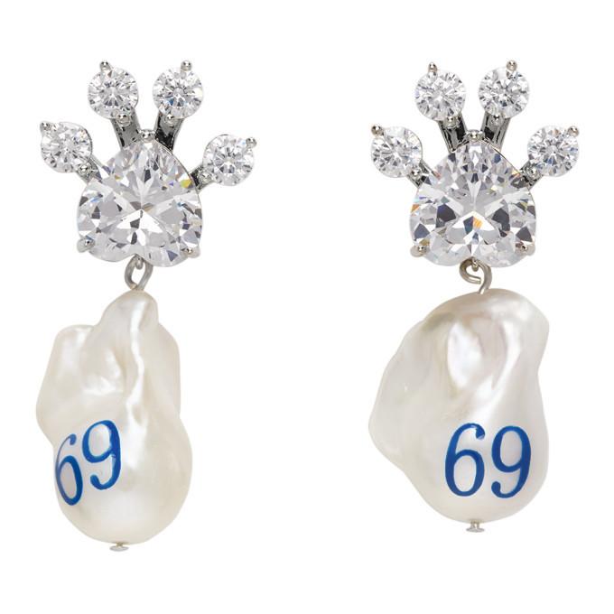 Jiwinaia Silver Pearl 69 Paw Valentine Earrings