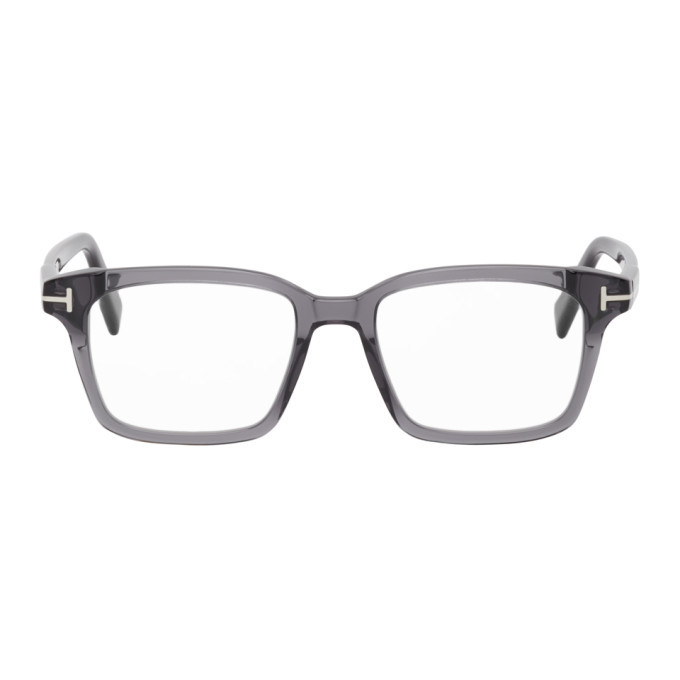 Photo: Tom Ford Grey Blue Block Square Glasses