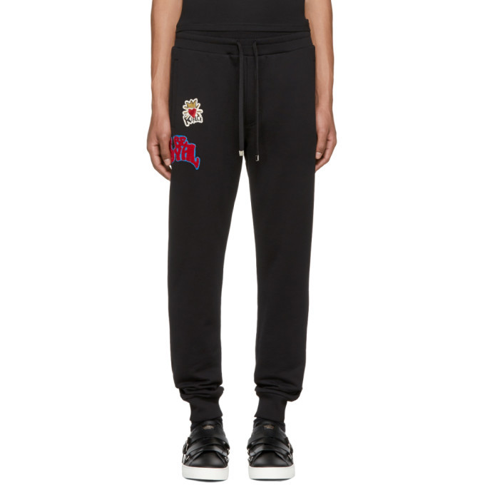 Photo: Dolce and Gabbana Black Embroidered Lounge Pants