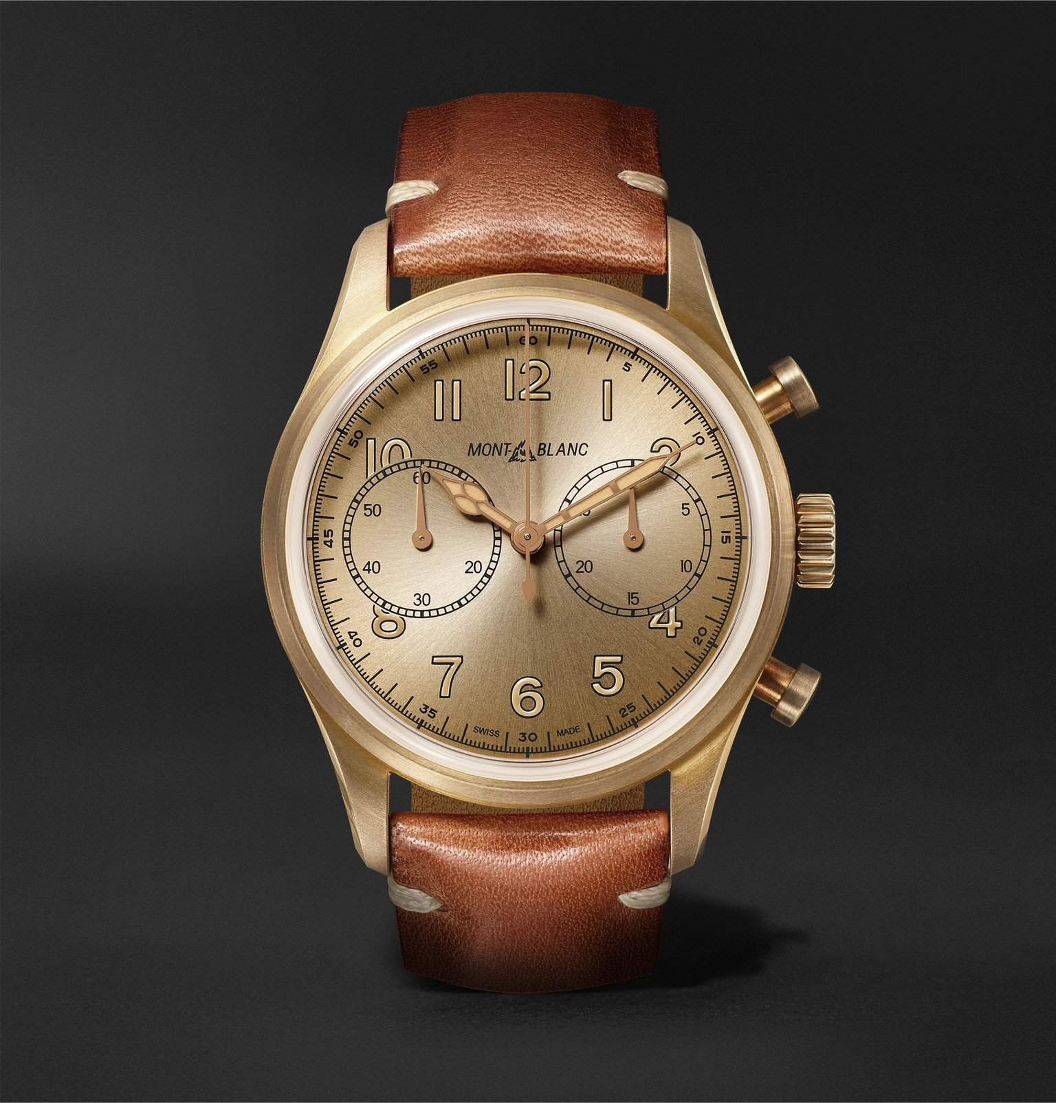 Photo: Montblanc - 1858 Automatic Chronograph 42mm Bronze and Leather Watch, Ref. No. 118223 - Gold