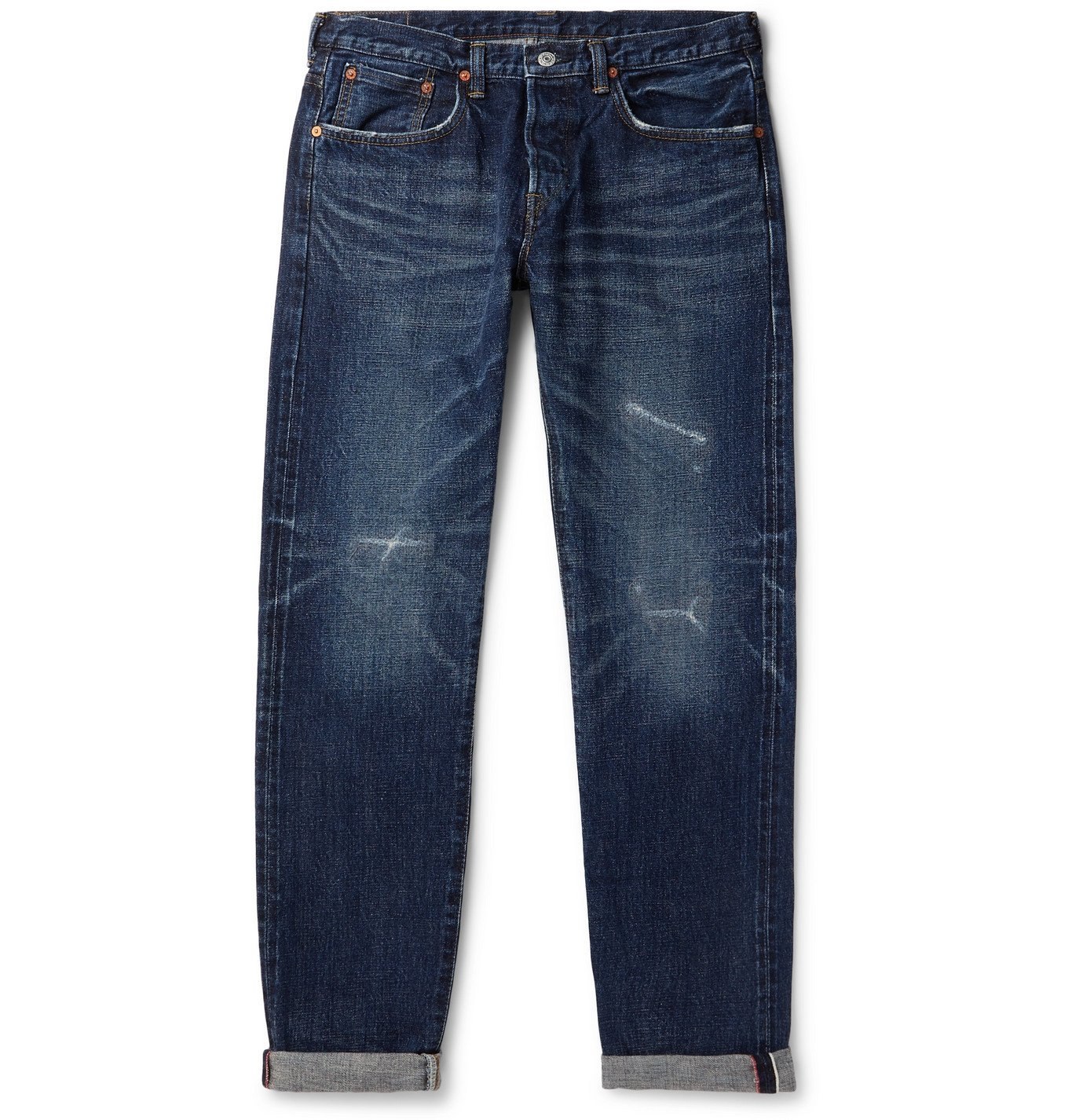 Photo: EDWIN - Slim-Fit Distressed Selvedge Denim Jeans - Blue