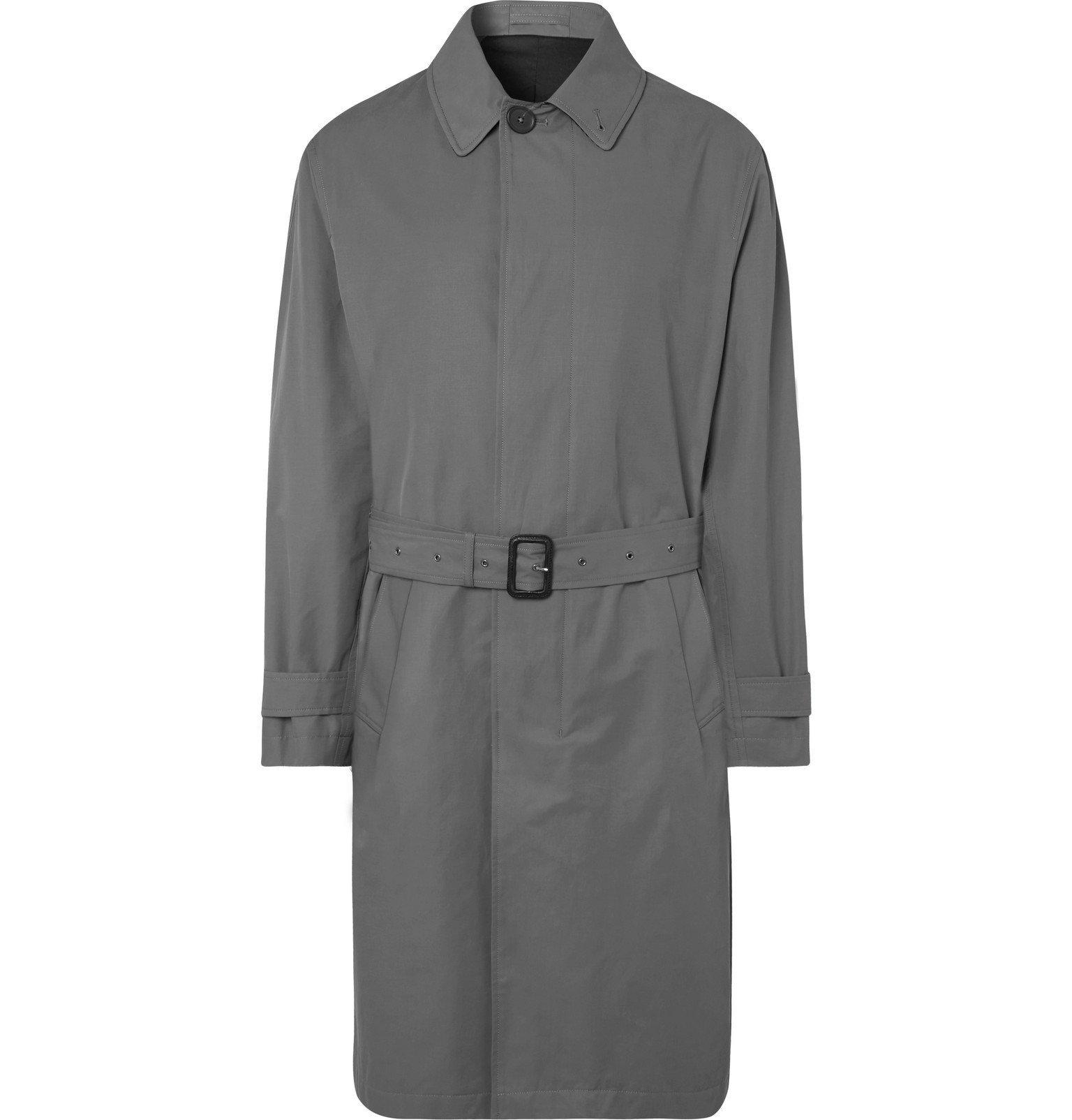 Photo: Mr P. - Belted Bonded Cotton-Blend Raincoat - Gray