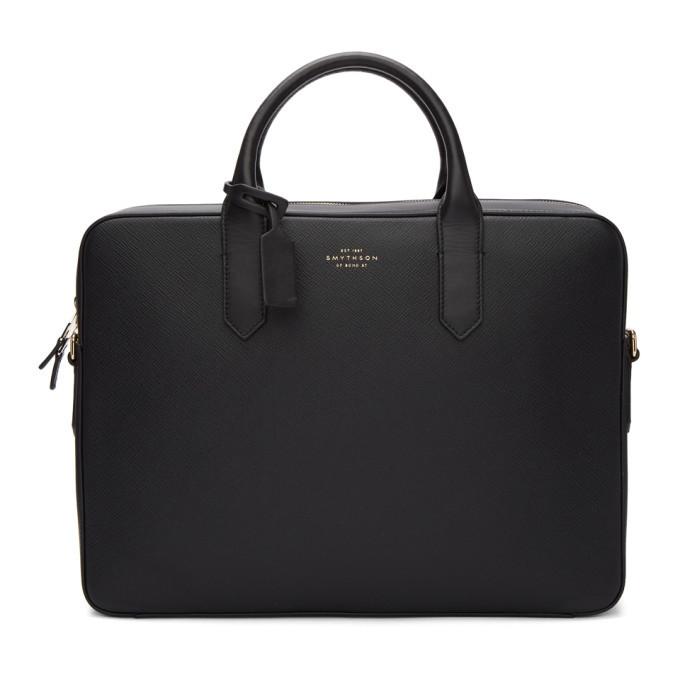 Smythson Black Panama Slim Briefcase