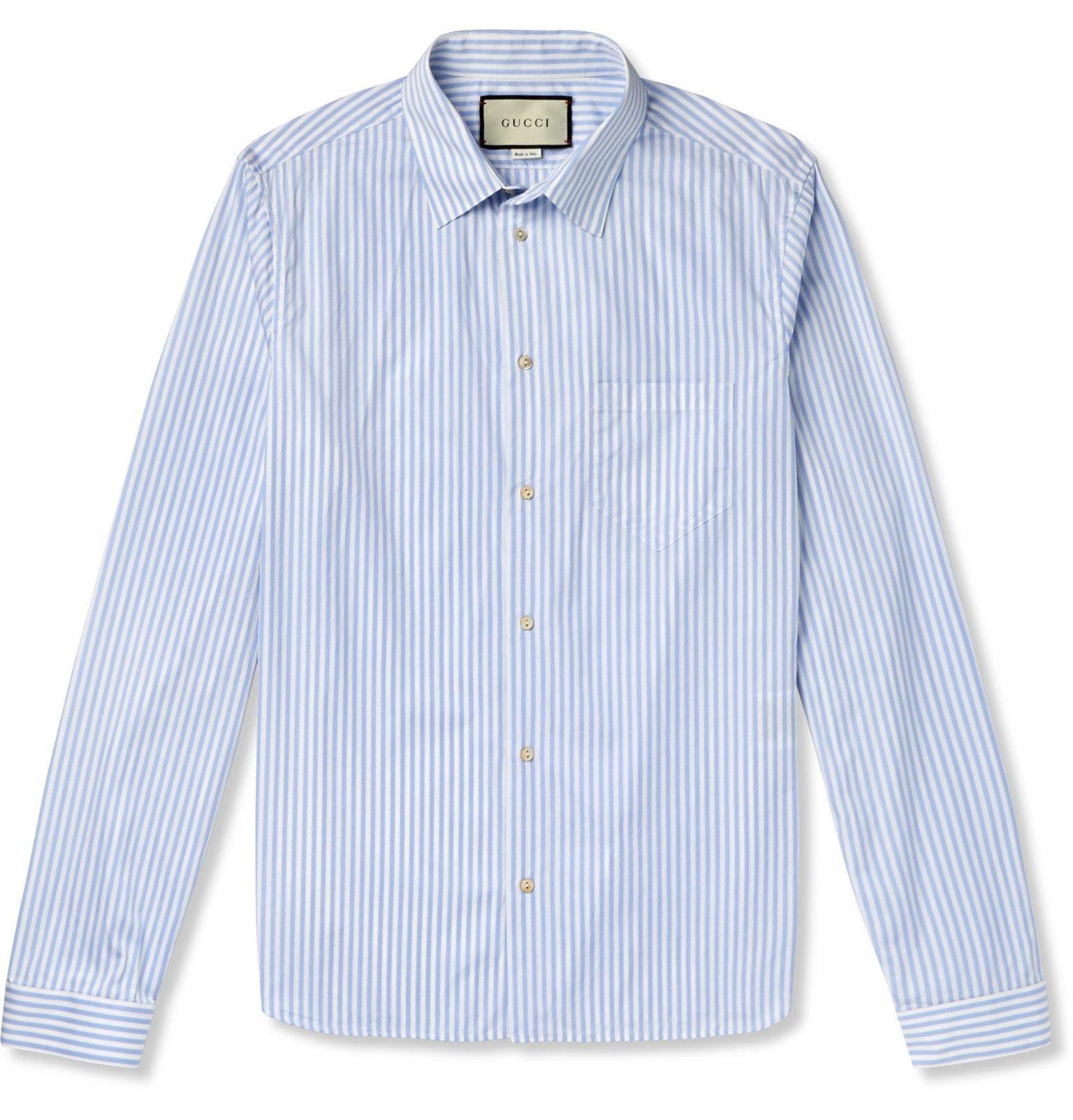 Photo: Gucci - Striped Cotton-Poplin Shirt - Blue