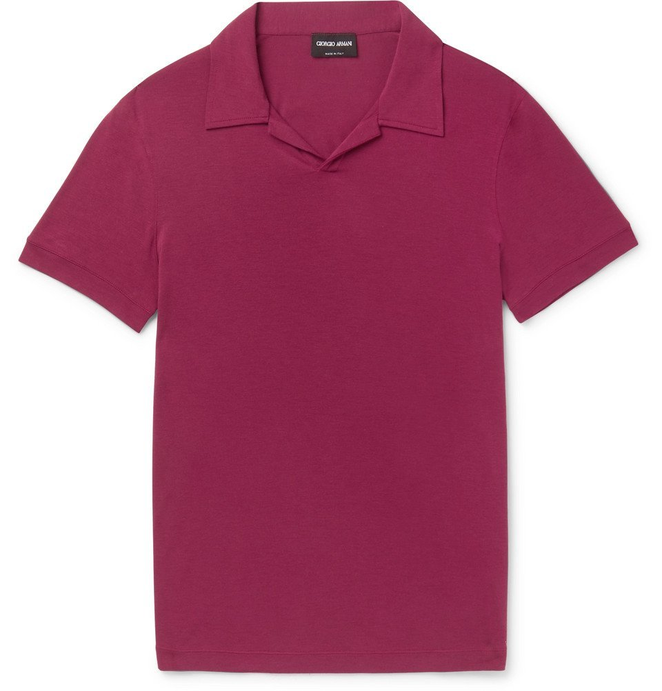 Giorgio Armani - Slim-Fit Camp Collar Stretch-Jersey Polo Shirt - Men - Plum
