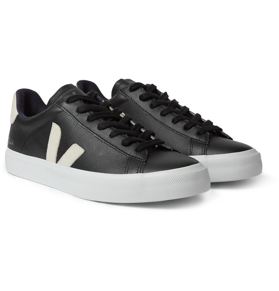 Photo: Veja - Campo Suede-Trimmed Leather Sneakers - Black