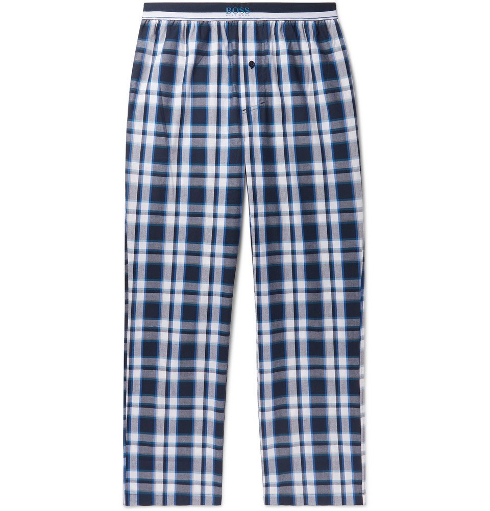 Photo: Hugo Boss - Checked Cotton Pyjama Trousers - Navy