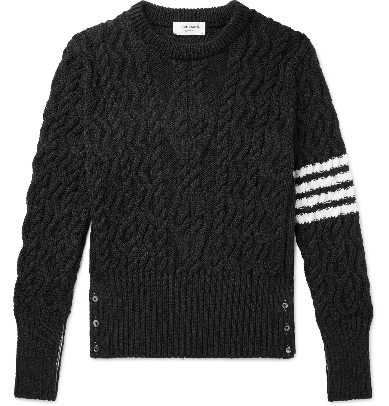 Photo: THOM BROWNE - Striped Cable-Knit Merino Wool Sweater - Gray