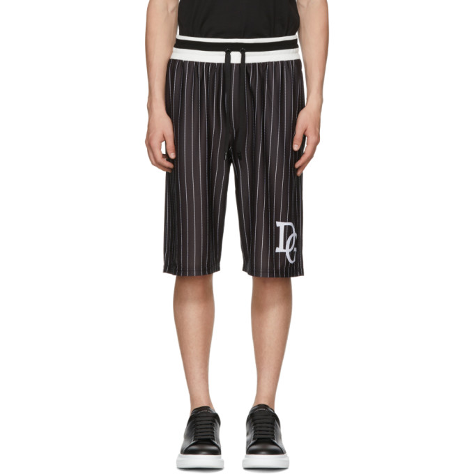 Photo: Dolce and Gabbana Black and White Striped DG Basketball Shorts