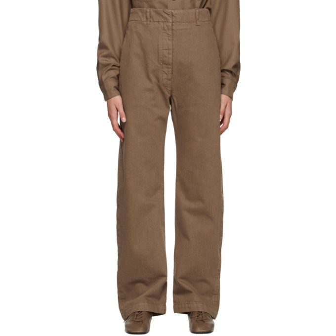 Photo: Lemaire Brown Denim Curved Trousers