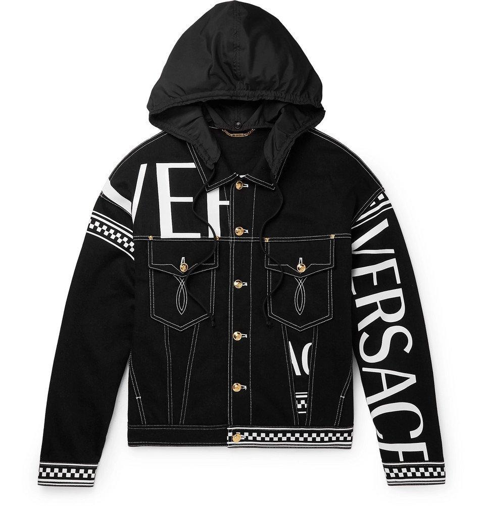 Photo: Versace - Logo-Print Hooded Denim Jacket - Black