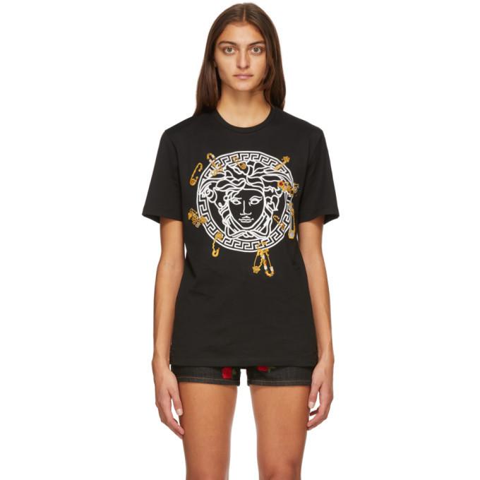 Versace Black Medusa Safety Pin T-Shirt