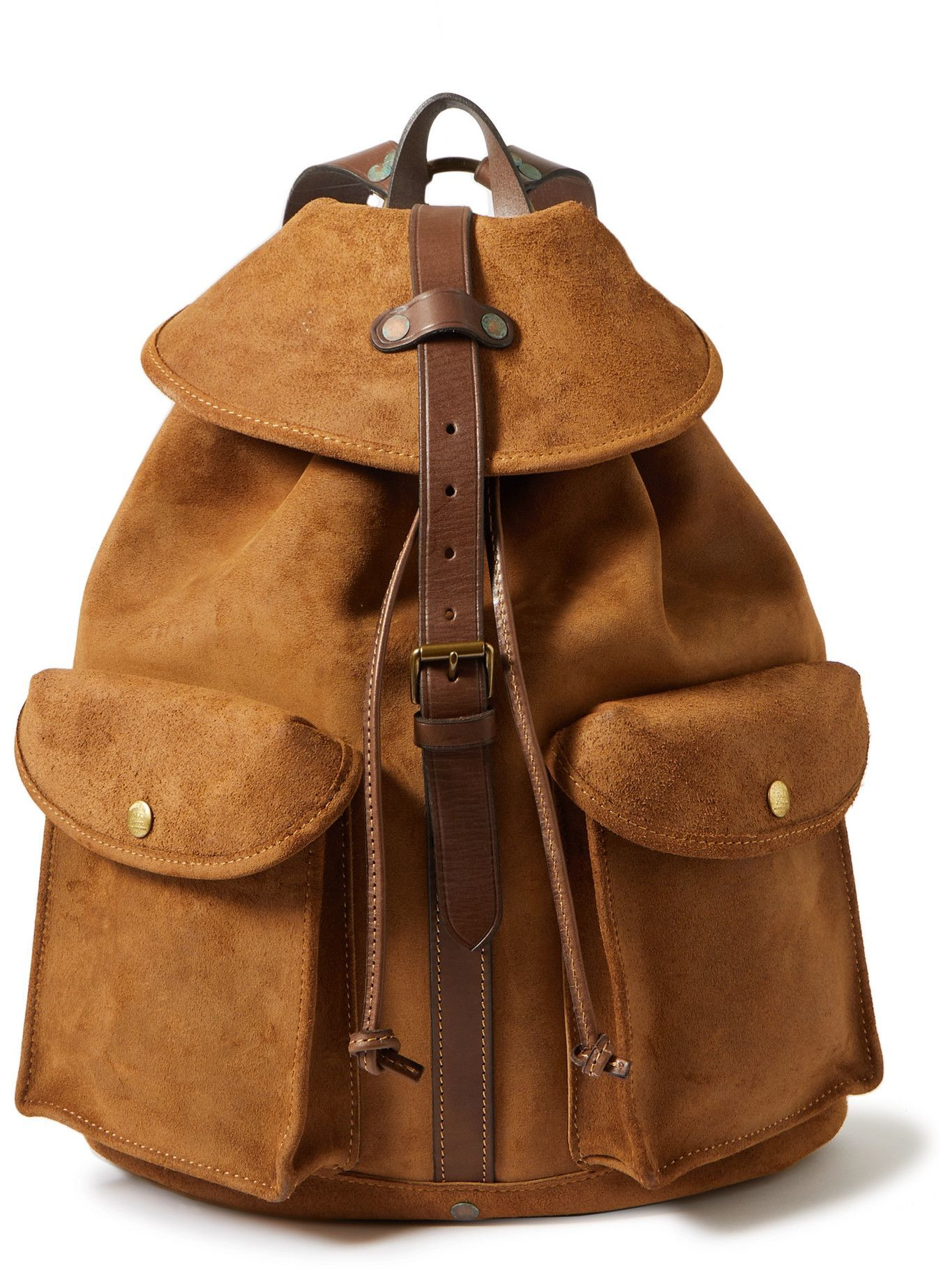 RRL - Leather-Trimmed Roughout Suede Backpack