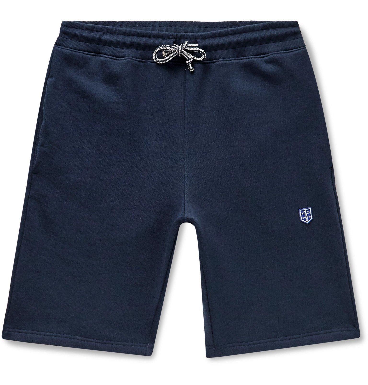 Schiesser - Vincent Fleece-Back Cotton-Jersey Drawstring Shorts - Blue