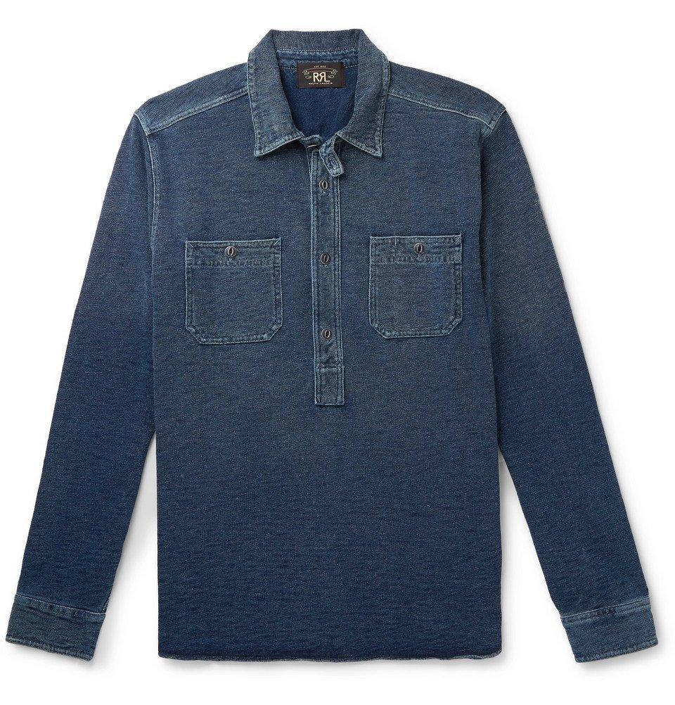RRL - Cotton-Terry Half-Placket Shirt - Men - Blue