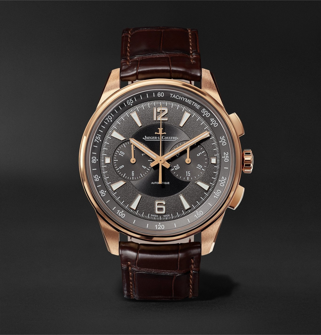 Photo: Jaeger-LeCoultre - Polaris Automatic Chronograph 42mm Rose Gold and Alligator Watch, Ref. No. Q9022450 - Black