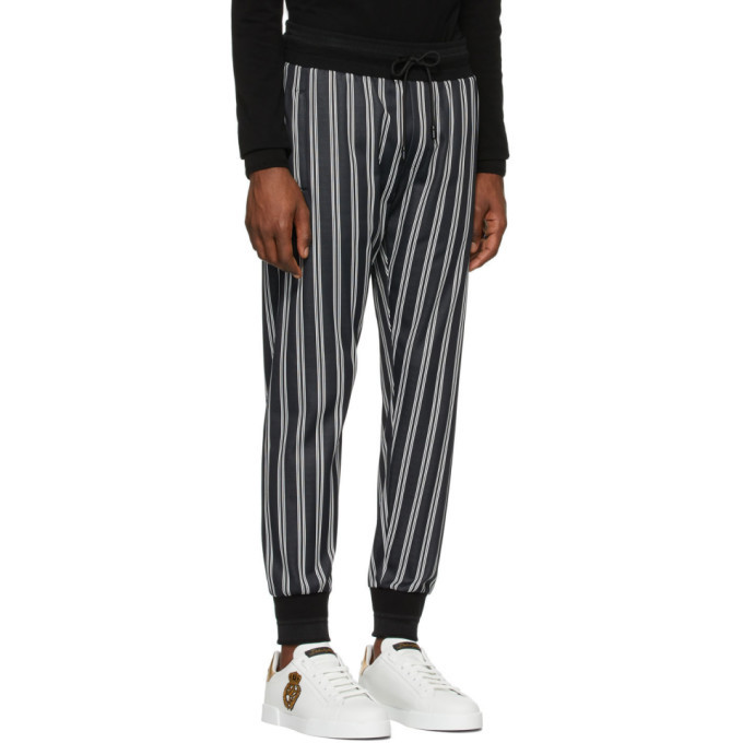 Dolce and Gabbana Black and White Striped Lounge Pants