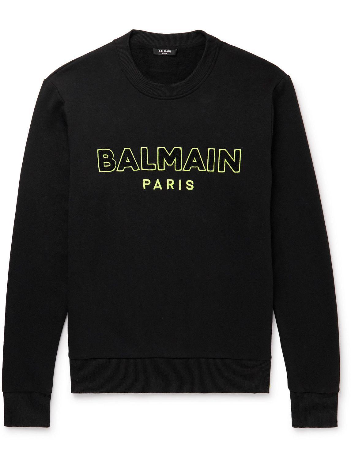 Photo: Balmain - Logo-Embroidered Cotton-Jersey Sweatshirt - Black